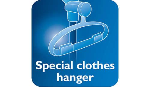 Hanger met hang-en-vergrendelfunctie voor stabiliteit tijdens het stomen
