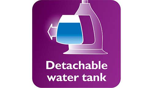 Depósito de agua desmontable transparente con entrada de agua higiénica