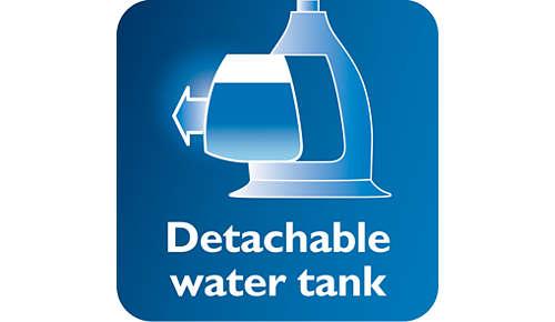 Afneembaar transparant waterreservoir met hygiënische waterinlaat