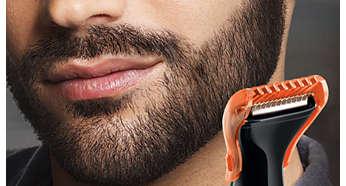 3 presné hrebeňové nástavce vám umožnia dosiahnuť vždy rovnakú obľúbenú dĺžku brady