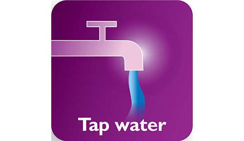 Geschikt voor kraanwater met Double Active Calc-Clean-systeem