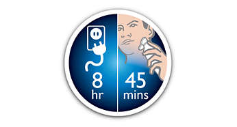 Up to 45 min of cordless shaving minutes 8 hour charge