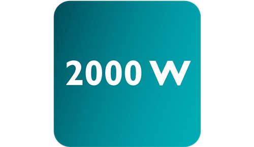 Effekt på upp till 2000W ger ett konstant högt ångutsläpp