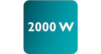 Potência de até 2000 W ativando a saída constante de vapor intenso