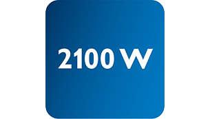 Vermogen tot 2100 W voor constant hoge stoomproductie