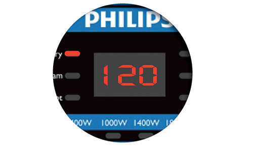 Digital display shows cooking time and status clearly