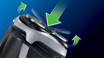La tecnologia Flex & Float è in grado di seguire la sagoma del viso e del collo