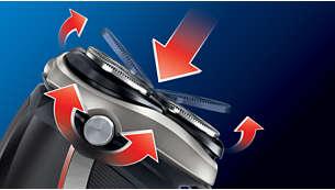 Rakhuvudena roterar och flexar för att på ett behagligt sätt följa alla kurvor