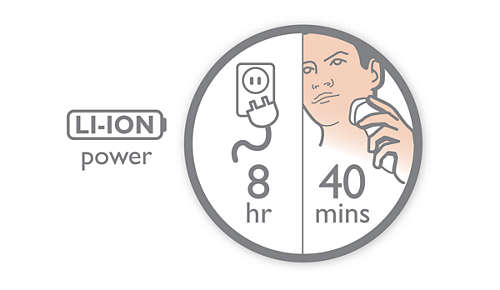 40 shaving minutes, 8 hour charge
