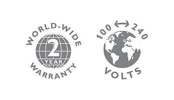 2-year warranty, worldwide voltage