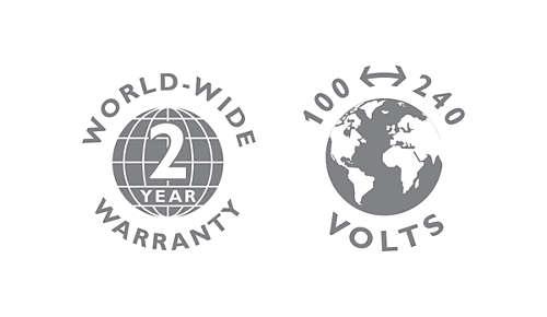2-year warranty, worldwide voltage