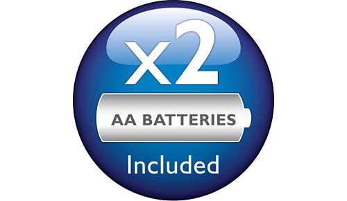 2 baterii Philips AA sunt incluse în ambalaj