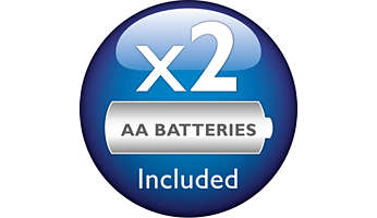 2 Philips AA batteries are included in the package