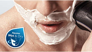 AquaTec: rasage facile à sec ou rafraîchissant avec du gel ou de la mousse à raser