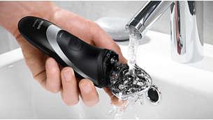 Afspoelbaar scheerapparaat met QuickRinse-systeem