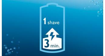 Быстрая зарядка в течение 3минут для 1сеанса бритья