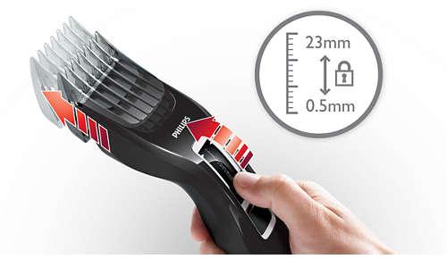 13 eenvoudig selecteerbare en vergrendelbare lengtestanden: 0,5 mm - 23 mm