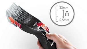 Fácil de seleccionar e bloquear em 13 regulações de comprimento: 0,5 a 23mm