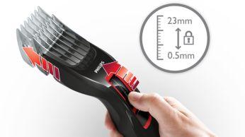 13 könnyen kiválasztható és rögzíthető hosszúság-beállítás 0,5 mm-től 23 mm-ig