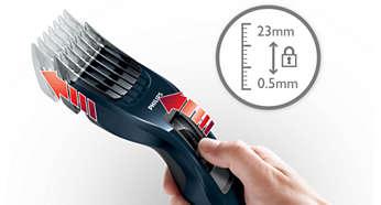 Nemt at vælge og låse i 13 længdeindstillinger - 0,5 til 23 mm