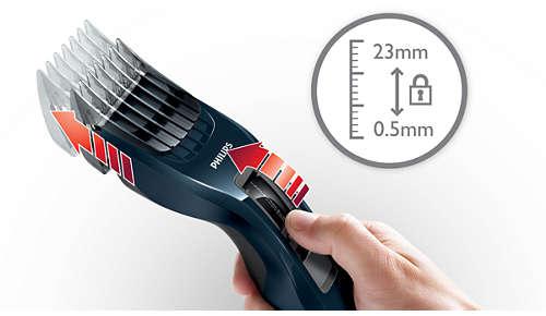 13 helposti valittavaa ja lukittavaa pituusasetusta, 0,5–23mm
