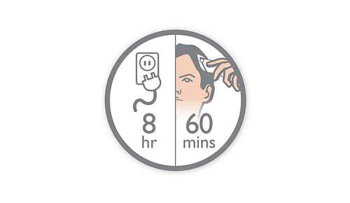 60 minuuttia johdotonta käyttöä 8 tunnin latauksella