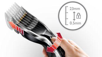 24 könnyen kiválasztható és rögzíthető hosszbeállítás 0,5 mm-től 23 mm-ig