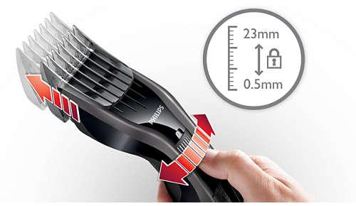 24hauteurs de coupe faciles à sélectionner et à verrouiller: de 0,5 à 23mm