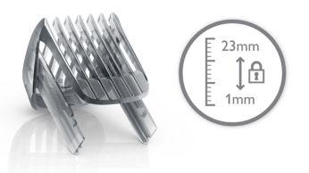 Включва гребен за брада за 23 регулируеми дължини: 1 до 23 мм