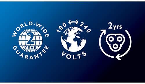 2 Jahre Garantie, weltweite Spannungsanpassung, austauschbare Klingen