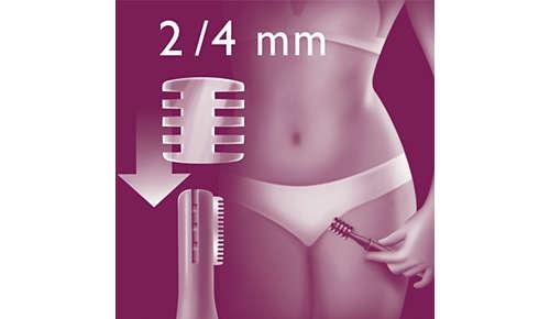 Peine-guía con dos longitudes de corte para dar forma a la zona del bikini