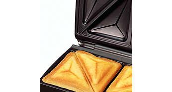 Trójkątne płytki opiekające zapobiegają wypadaniu składników, np. sera, z kanapki