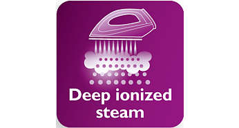 Deep ionised steam for optimal, hygienic ironing