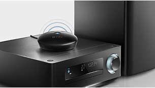 Kan anslutas till nästan alla Hi-Fi- eller datorhögtalare