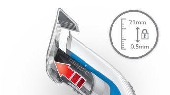 11rögzíthető hosszbeállítás:3-21 mm vagy 0,5 mm fésű nélkül