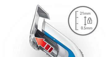11 ustawień długości: od 3 do 21mm lub 0,5mm bez nasadki grzebieniowej
