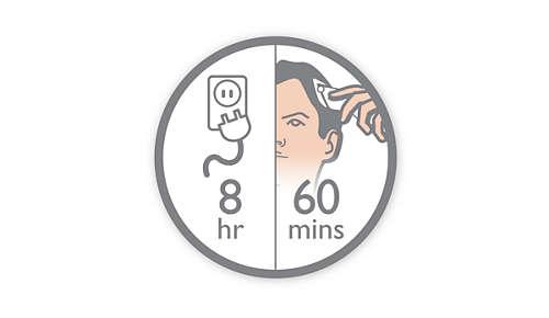 8 godzin ładowania wystarcza na 60 minut pracy przy zasilaniu akumulatorowym