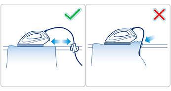 Fija el cable para evitar arrugas en zonas ya planchadas