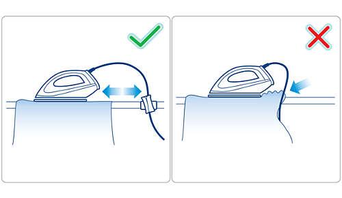 Fixiert das Kabel, um zu verhindern, dass Falten in bereits gebügelte Teile der Kleidung kommen