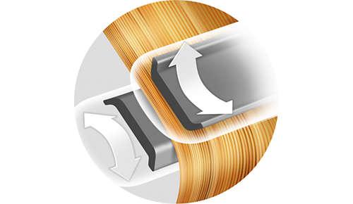 Ger mindre tryck på håret så att inte hårstråna bryts