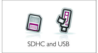 USB and SDHC slots for video, music and photo playback