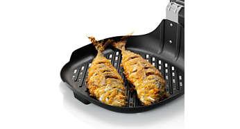 Met het geoptimaliseerde oppervlak kunt u zelfs een hele vis grillen