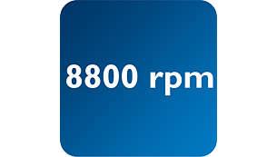 A rotação da lâmina de até 8.800 rotações/min permite a remoção eficaz