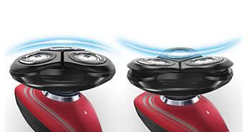 In 2 richtingen flexibele scheerhoofden volgen alle contouren