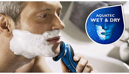 Aquatec-Versiegelung für eine gründliche Trocken- oder erfrischende Nassrasur