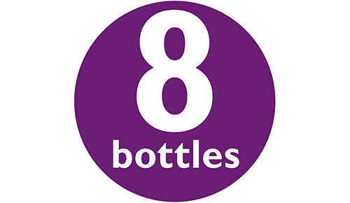 Fitting all sizes of bottles: 8 bottles, pump and soothers
