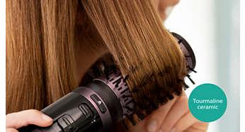 Dzięki ceramicznej powłoce turmalinowej włosy są bardziej lśniące
