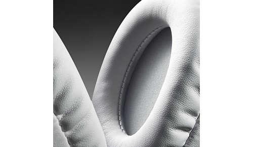 Zachte, lederen kussens voor over het oor voor een lang luistercomfort