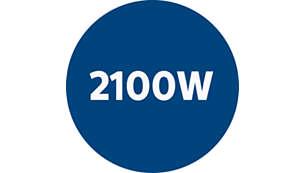 2100 W motor proizvaja moč sesanja 425 W