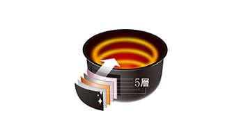 金色內鍋傳導和維持熱度的效果極佳